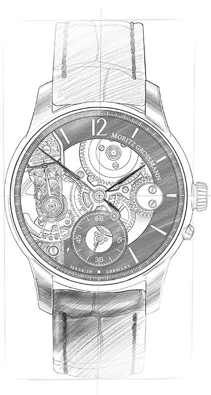 Strichzeichnung von der Contemporary Uhr aus der Benu