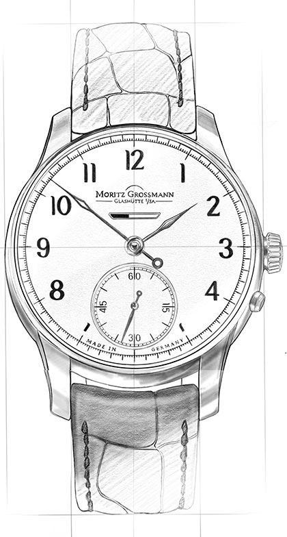 Strichzeichnung von der Heritage Uhr aus der Benu